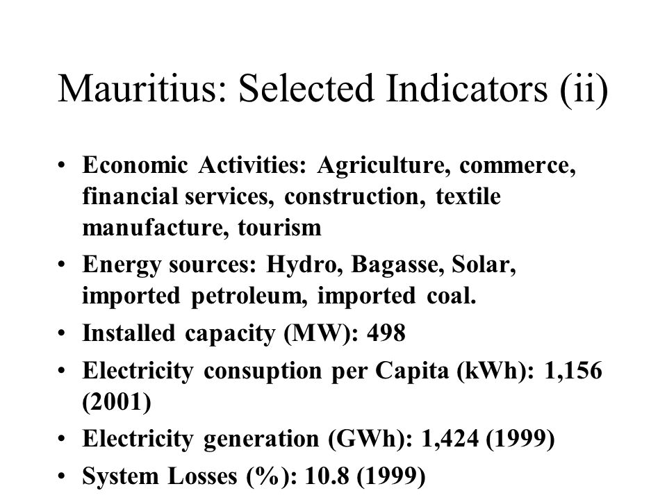 Mauritius: Selected Indicators (ii)
