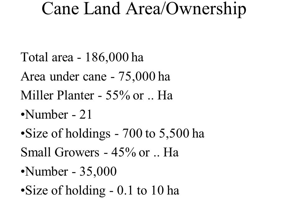 Cane Land Area/Ownership