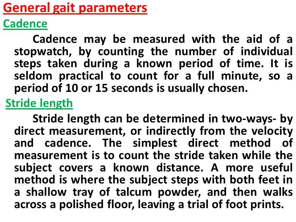 General gait parameters
