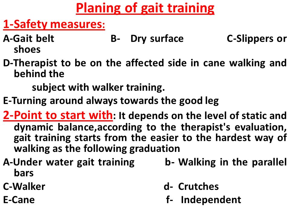 Planing of gait training
