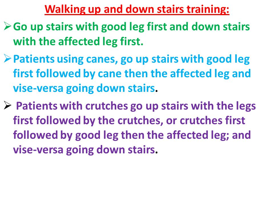 Walking up and down stairs training: