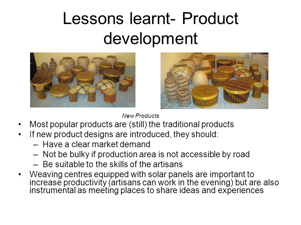 Lessons learnt- Product development