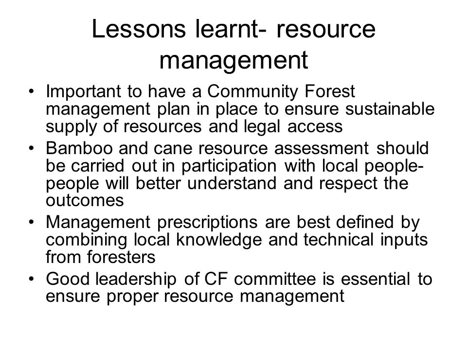 Lessons learnt- resource management