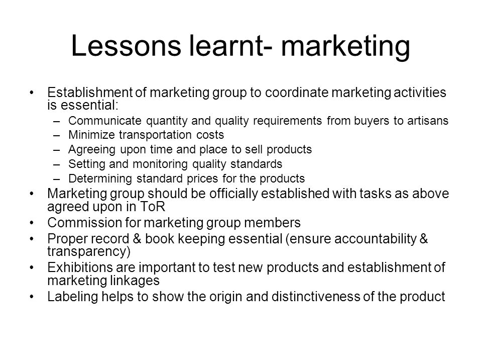 Lessons learnt- marketing
