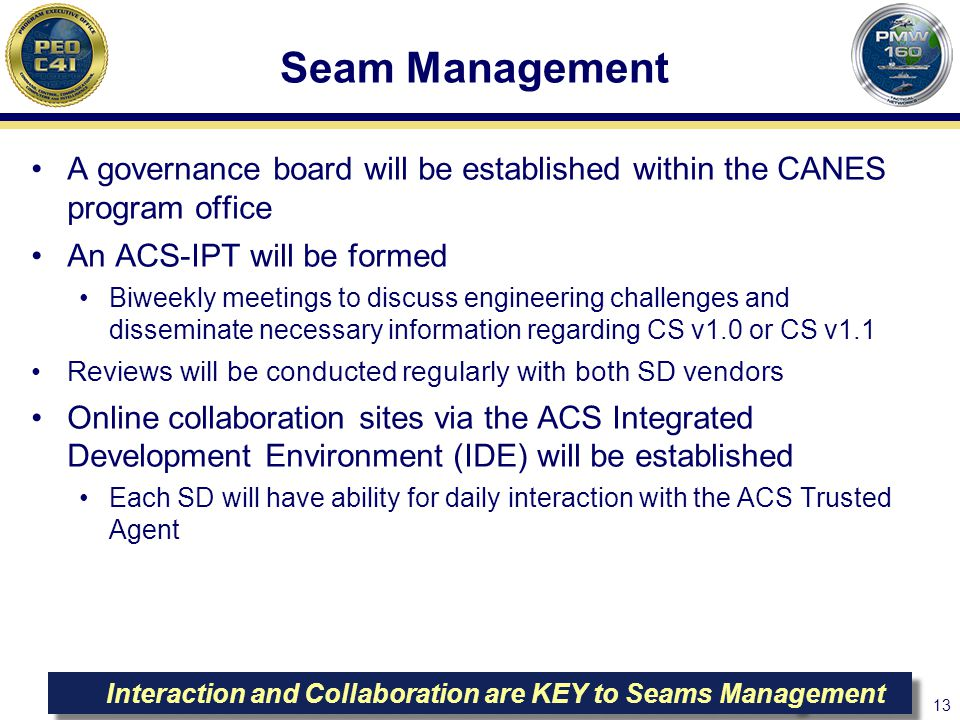 Seam Management A governance board will be established within the CANES program office. An ACS-IPT will be formed.