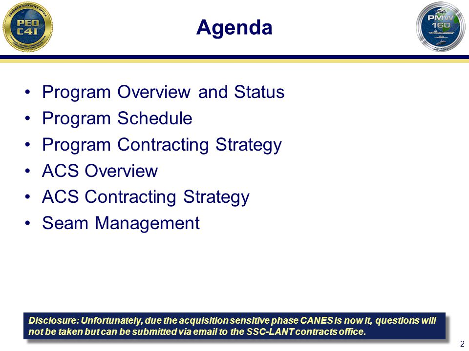 Agenda Program Overview and Status Program Schedule