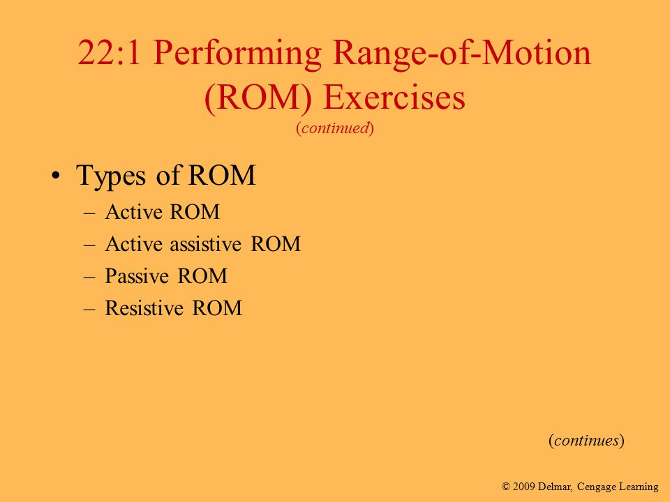 22:1 Performing Range-of-Motion (ROM) Exercises (continued)