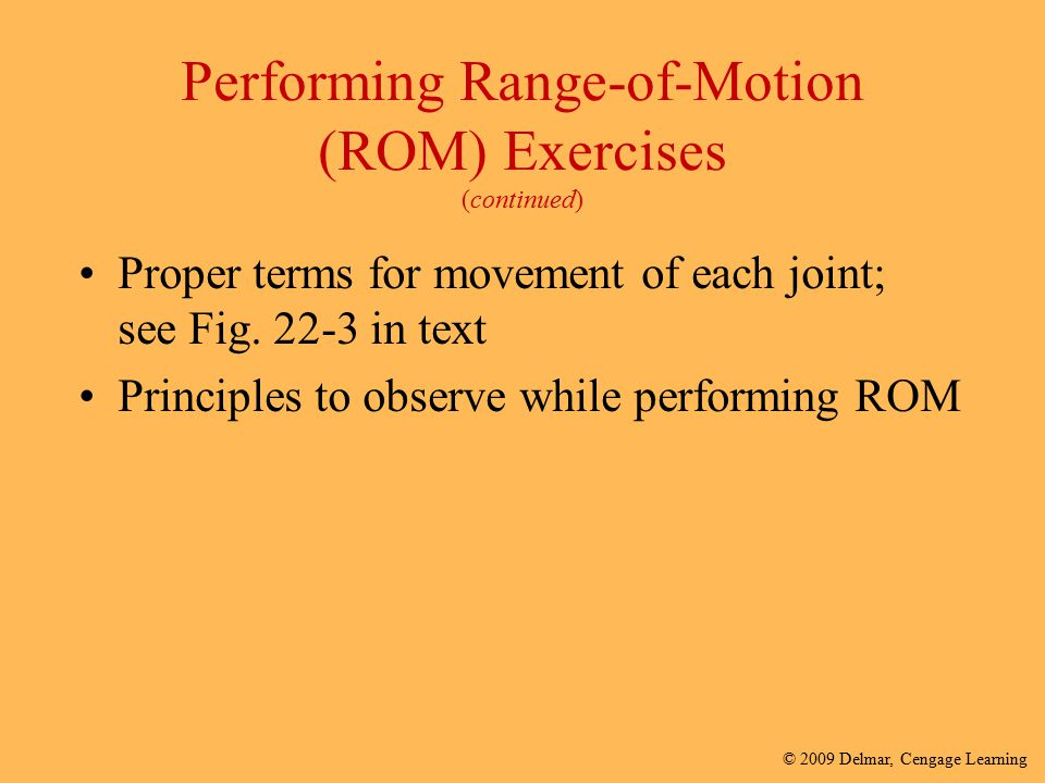 Performing Range-of-Motion (ROM) Exercises (continued)
