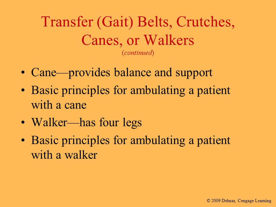 Transfer (Gait) Belts, Crutches, Canes, or Walkers (continued)