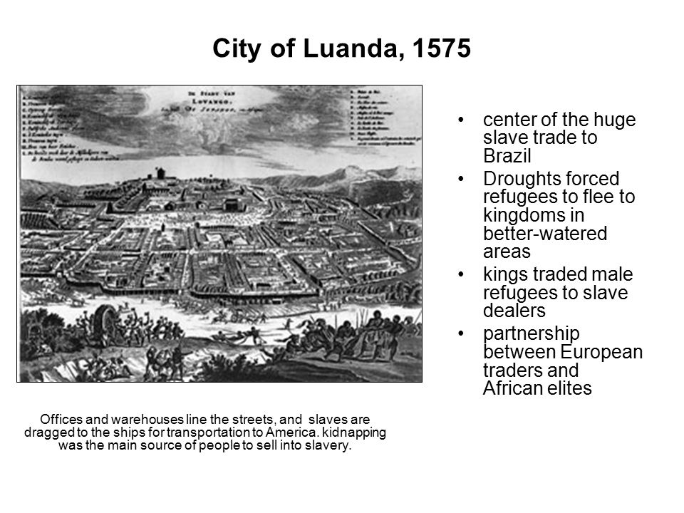 City of Luanda, 1575 center of the huge slave trade to Brazil