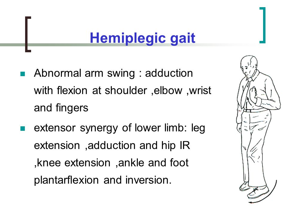 Hemiplegic gait Abnormal arm swing : adduction with flexion at shoulder ,elbow ,wrist and fingers.