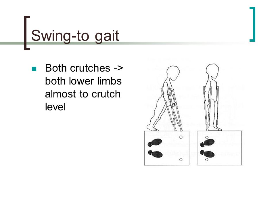 Swing-to gait Both crutches -> both lower limbs almost to crutch level