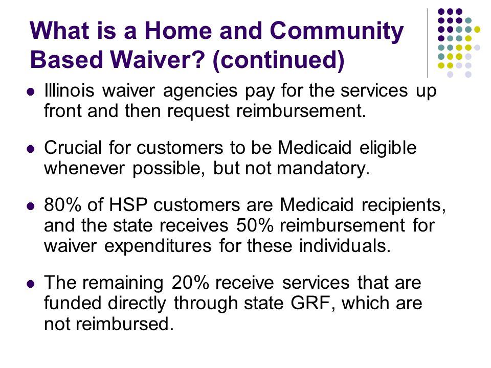 What is a Home and Community Based Waiver (continued)
