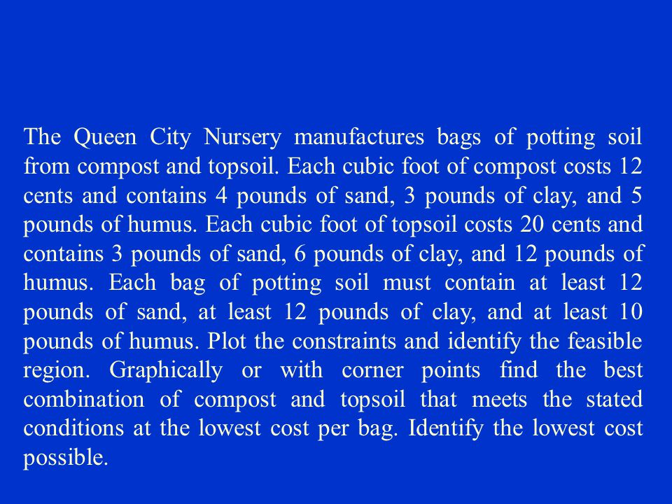 The Queen City Nursery manufactures bags of potting soil from compost and topsoil.