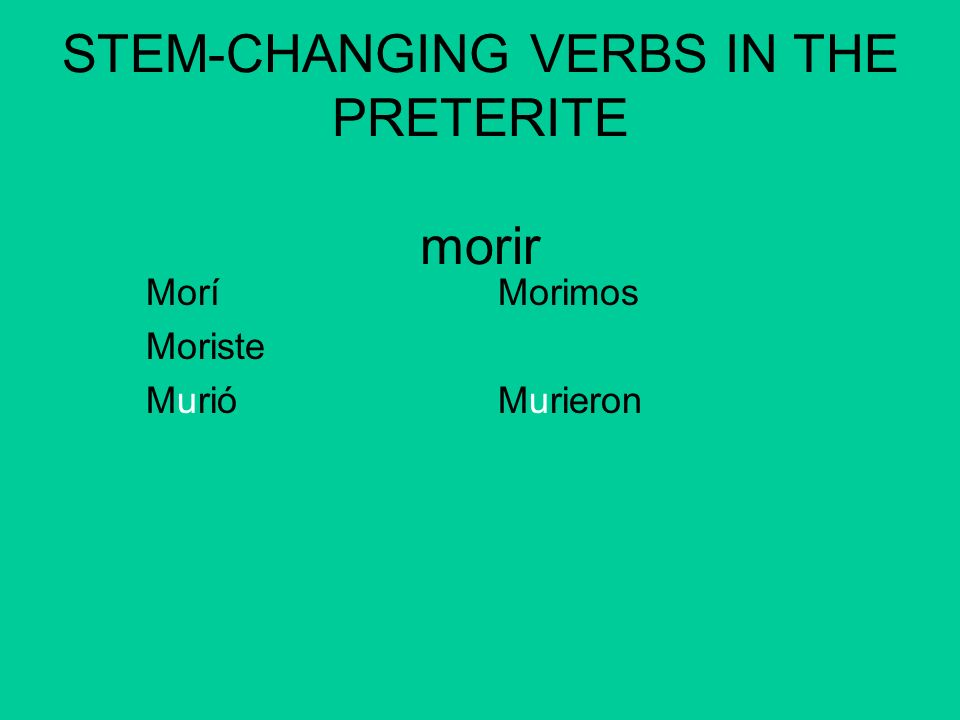 STEM-CHANGING VERBS IN THE PRETERITE morir