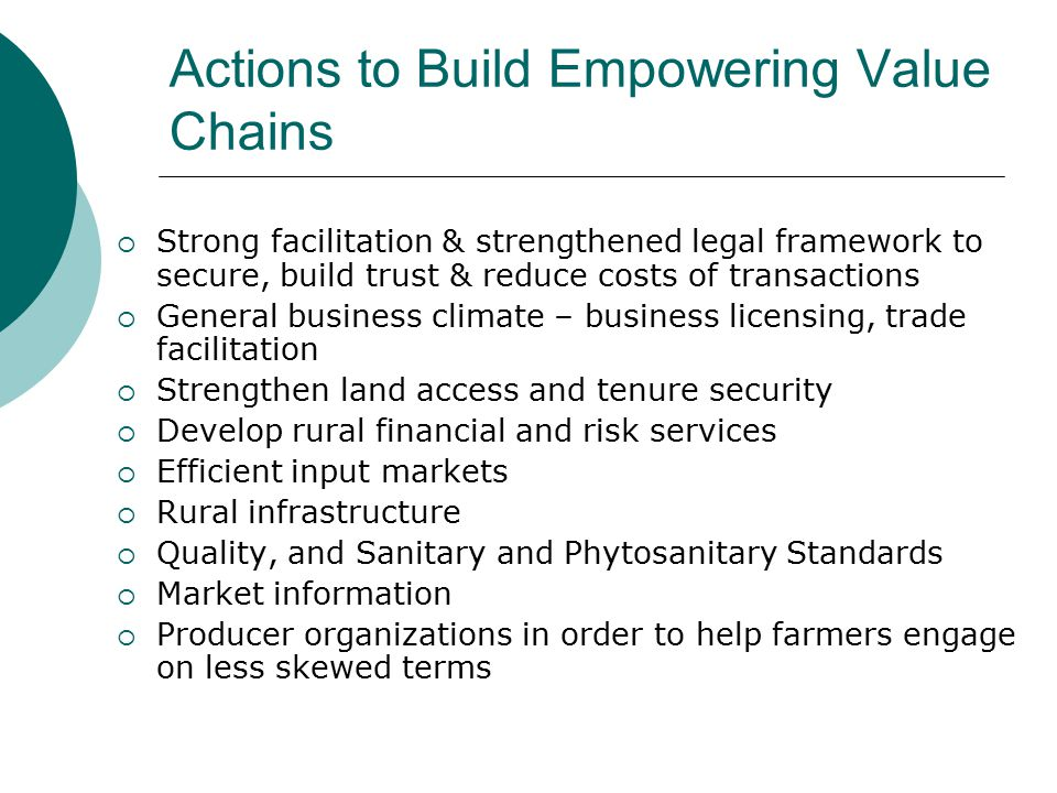Actions to Build Empowering Value Chains