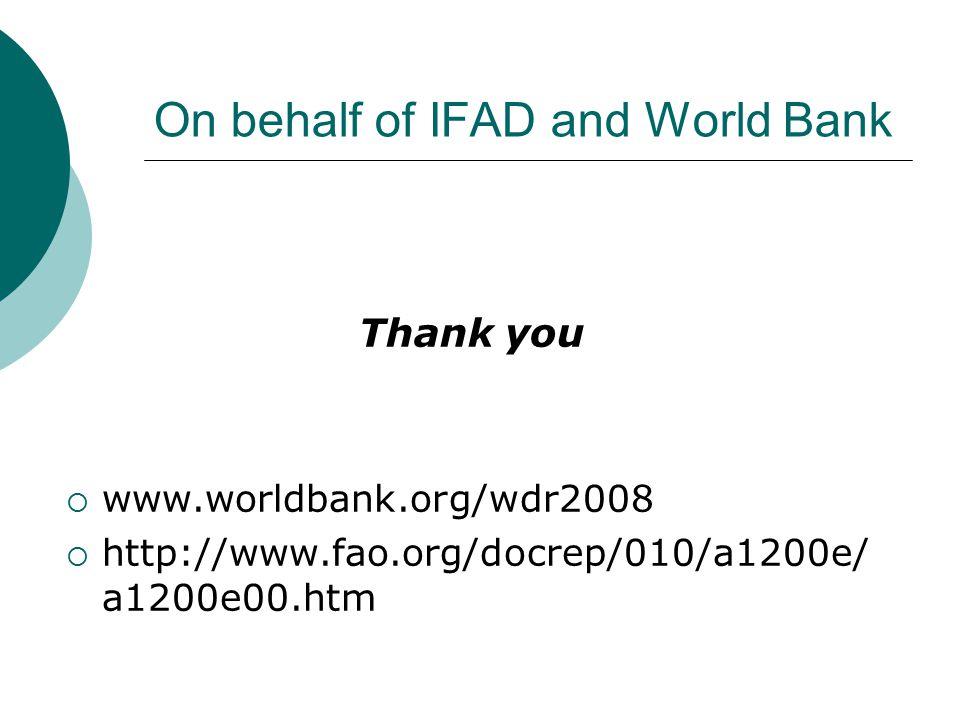 On behalf of IFAD and World Bank