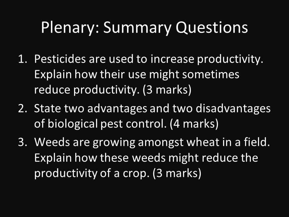 Plenary: Summary Questions