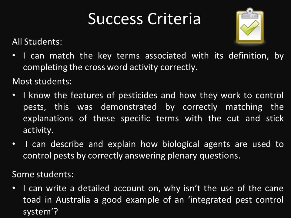 Success Criteria All Students: