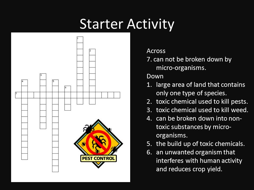 Starter Activity Across 7. can not be broken down by micro-organisms.