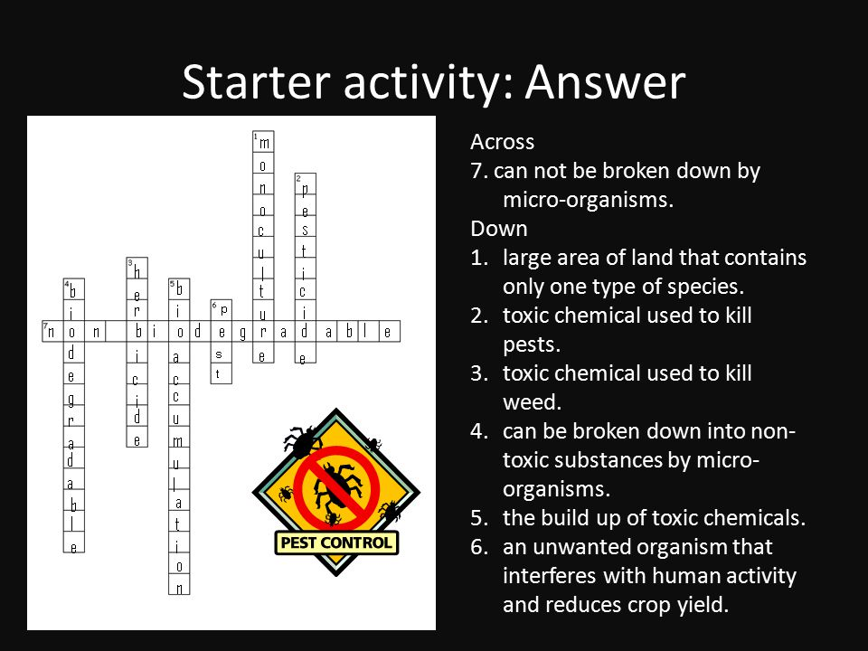 Starter activity: Answer