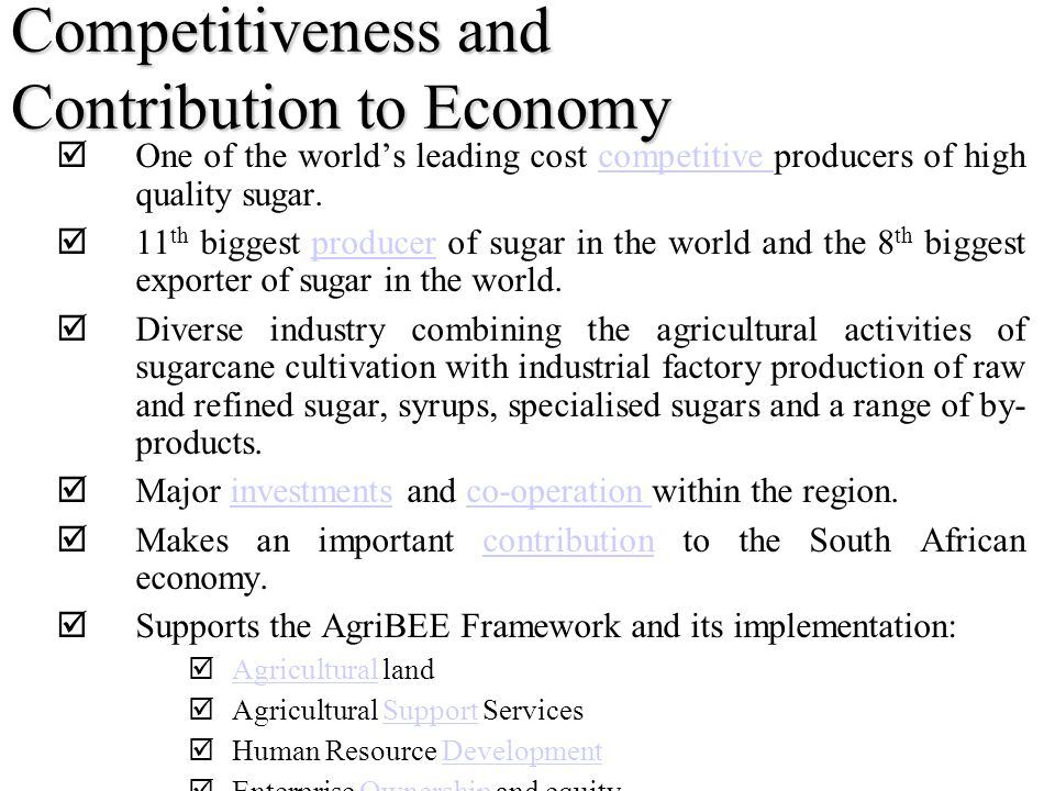 Competitiveness and Contribution to Economy