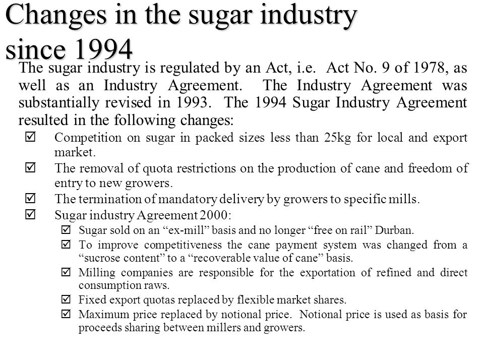 Changes in the sugar industry since 1994