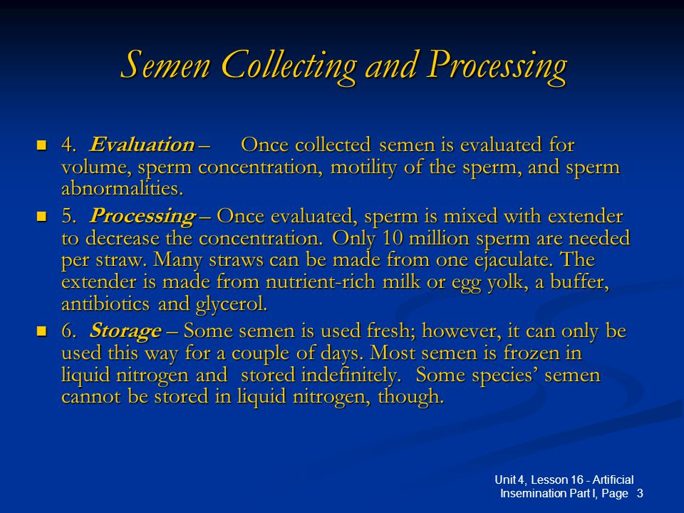 Semen Collecting and Processing
