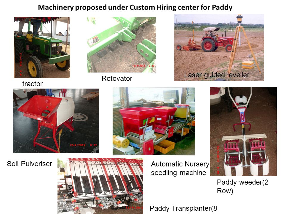 Laser guided leveller Rotovator. tractor. Soil Pulveriser. Automatic Nursery seedling machine. Paddy weeder(2 Row)