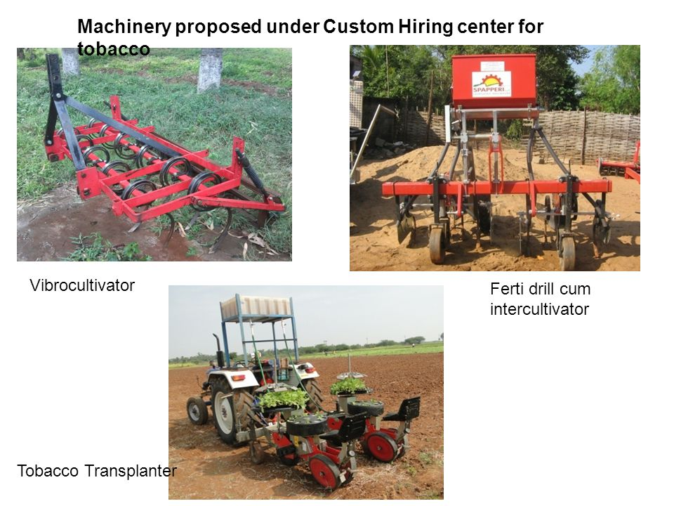 Machinery proposed under Custom Hiring center for tobacco