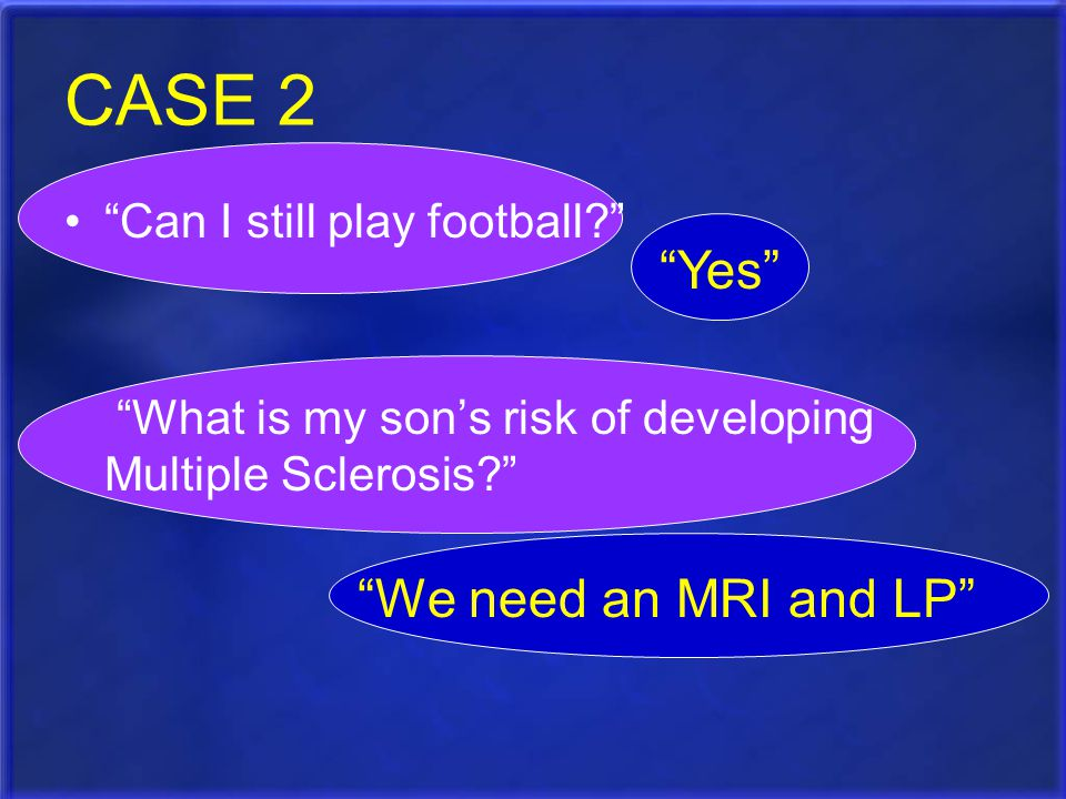 CASE 2 Yes We need an MRI and LP Can I still play football