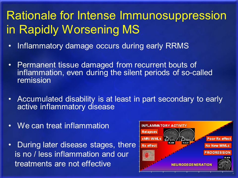 Rationale for Intense Immunosuppression in Rapidly Worsening MS