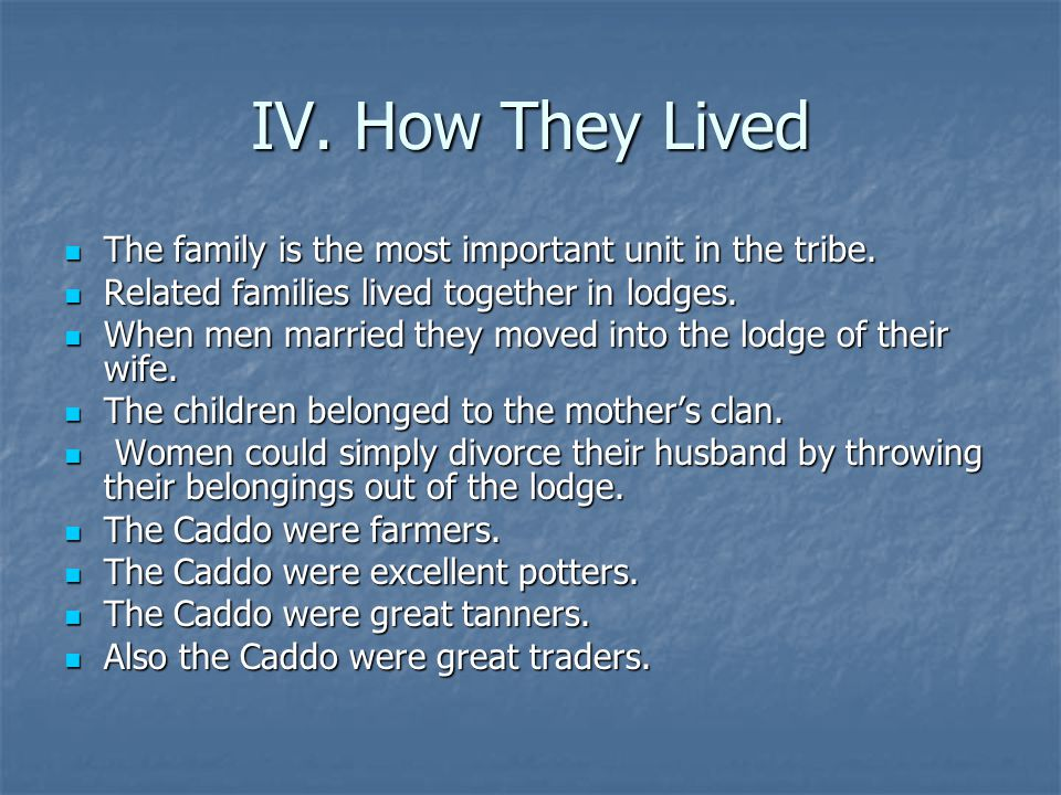 IV. How They Lived The family is the most important unit in the tribe.