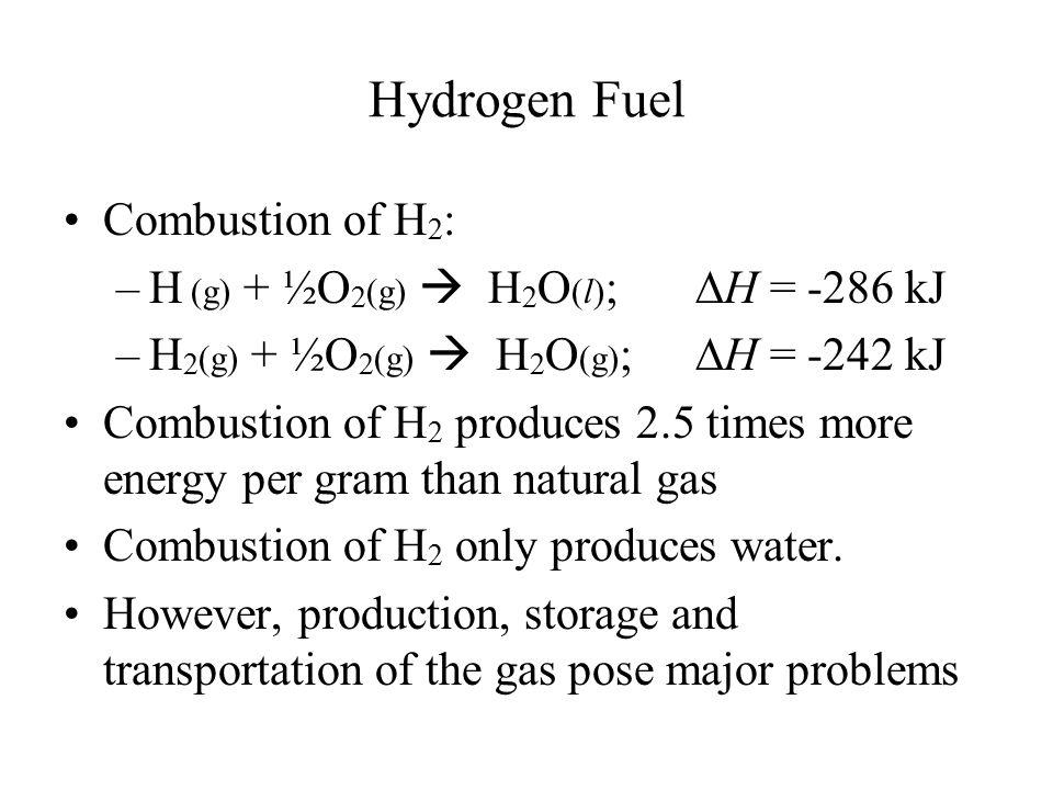 Hydrogen Fuel Combustion of H2: H (g) + ½O2(g)  H2O(l); DH = -286 kJ