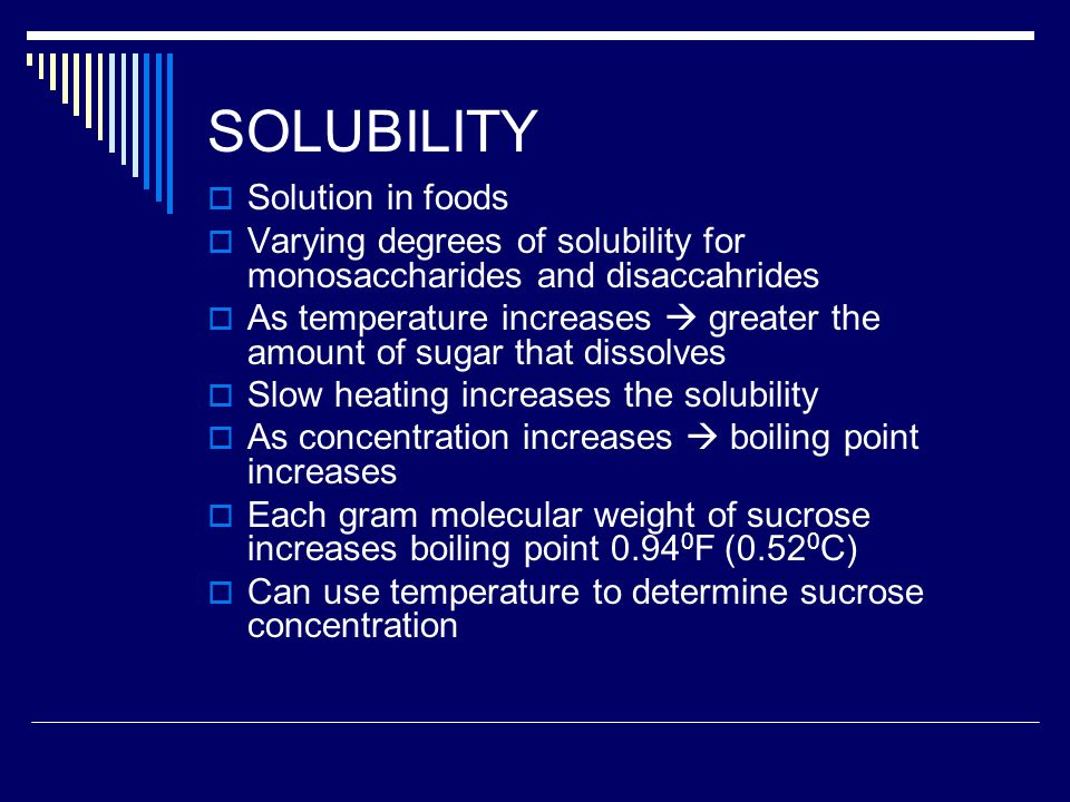 SOLUBILITY Solution in foods