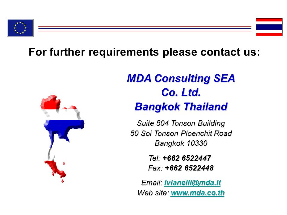 For further requirements please contact us: