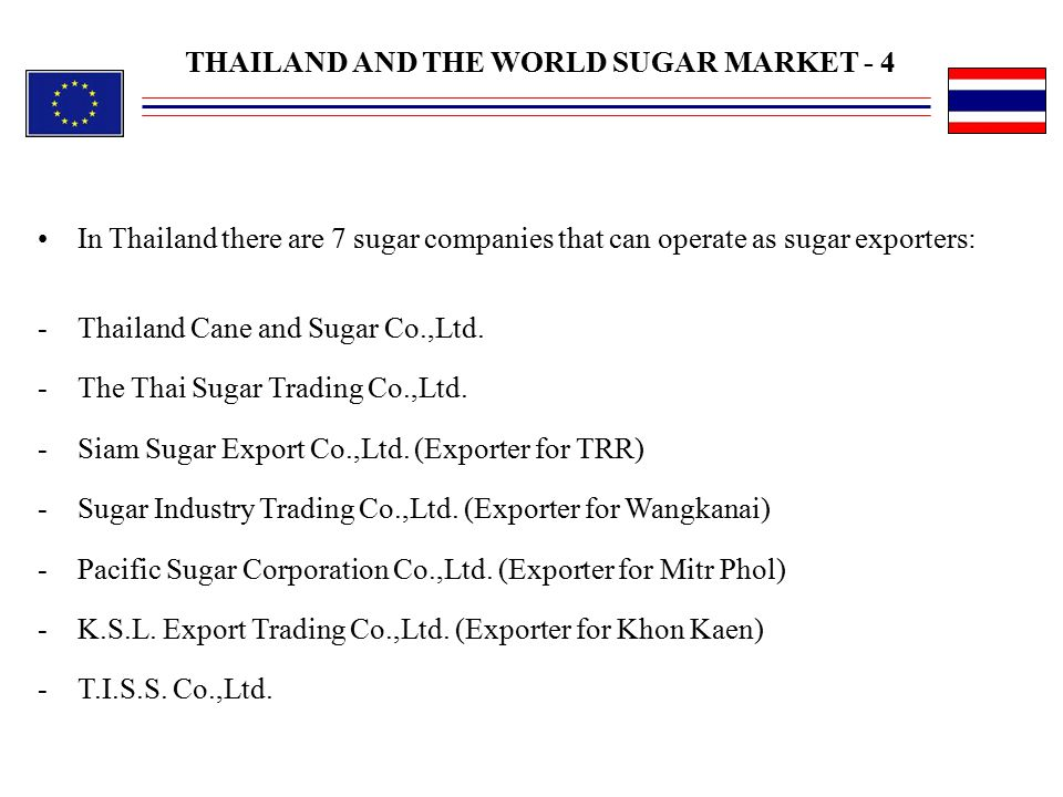 THAILAND AND THE WORLD SUGAR MARKET - 4