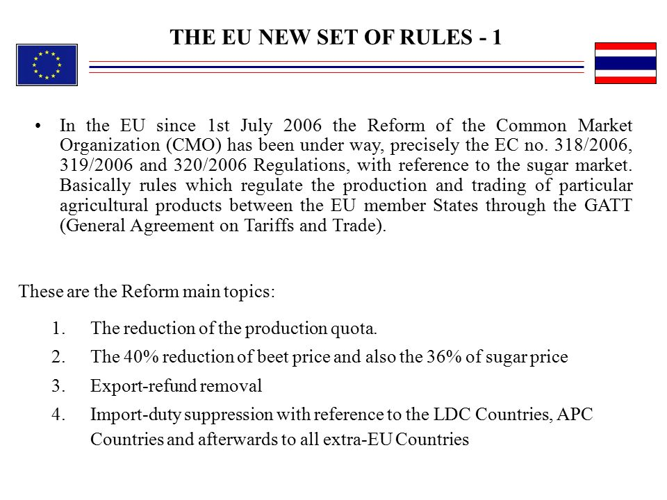 THE EU NEW SET OF RULES - 1