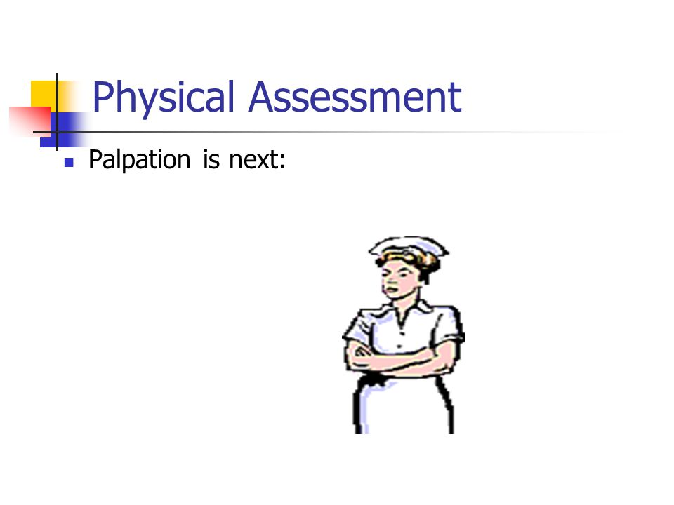 Physical Assessment Palpation is next: