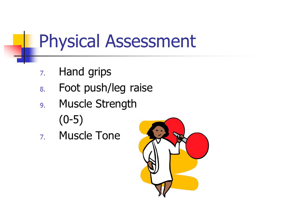 Physical Assessment Hand grips Foot push/leg raise Muscle Strength