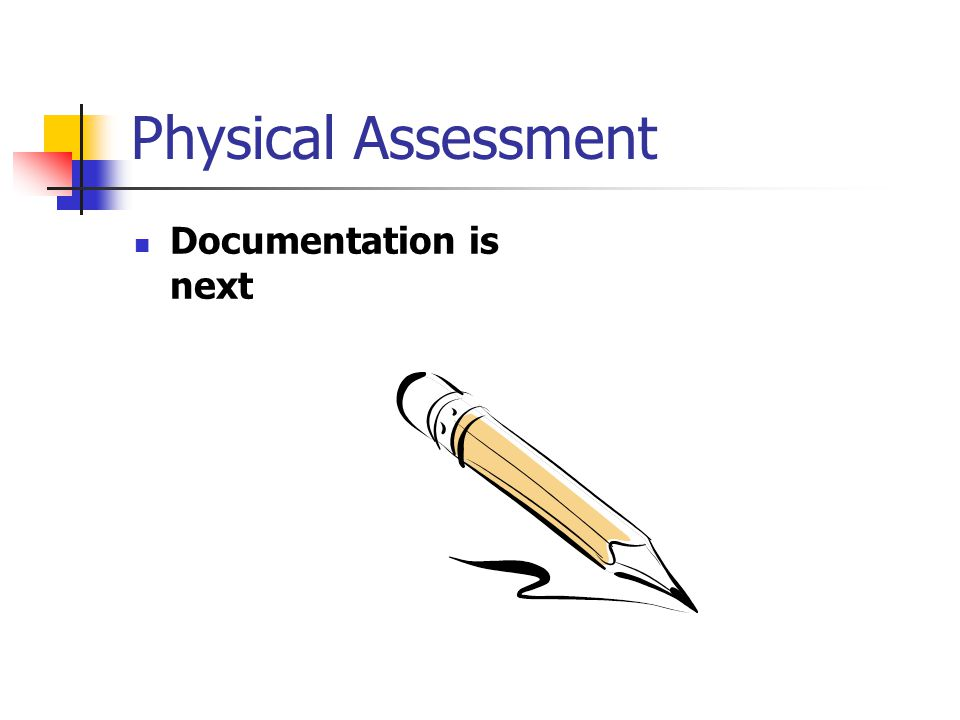 Physical Assessment Documentation is next