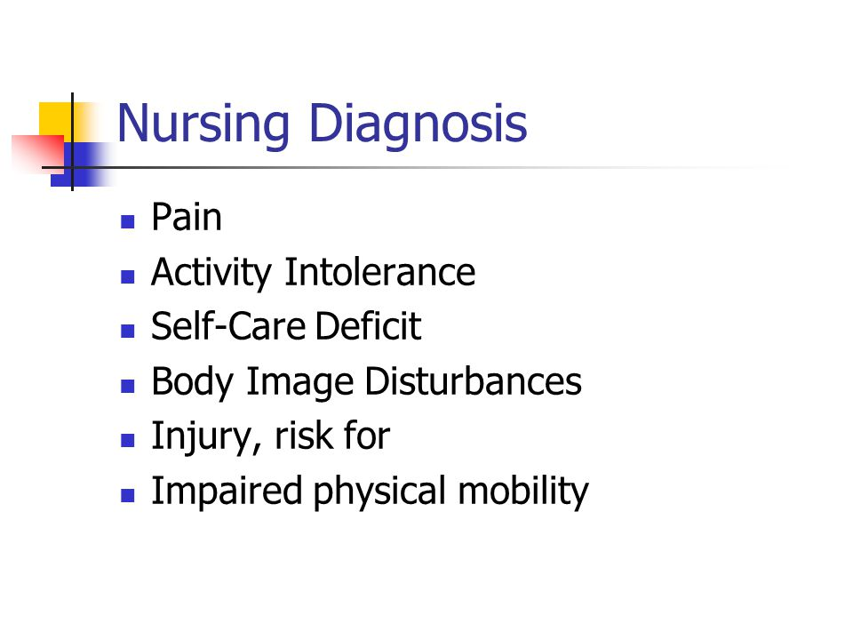 Nursing Diagnosis Pain Activity Intolerance Self-Care Deficit
