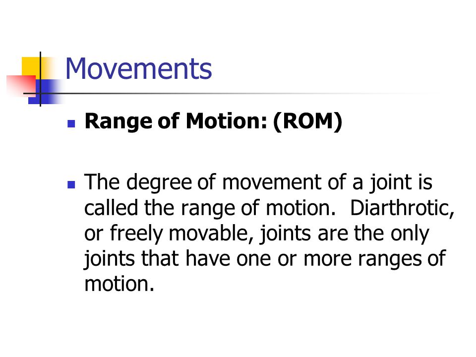 Movements Range of Motion: (ROM)