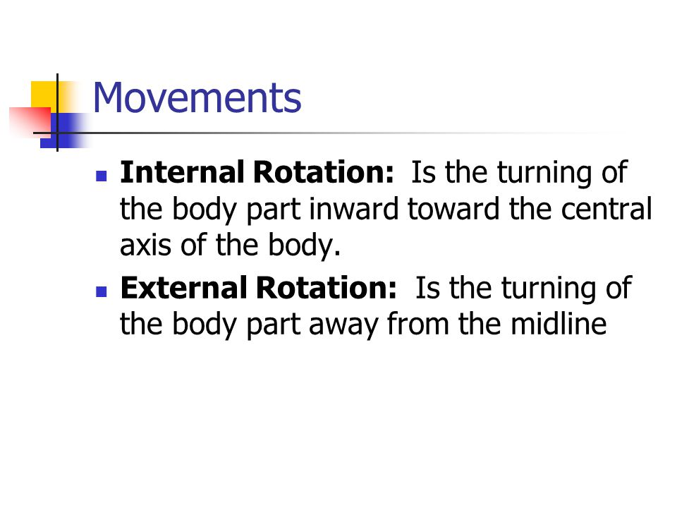 Movements Internal Rotation: Is the turning of the body part inward toward the central axis of the body.