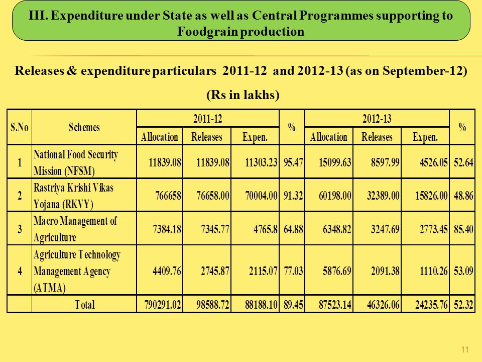 III. Expenditure under State as well as Central Programmes supporting to Foodgrain production