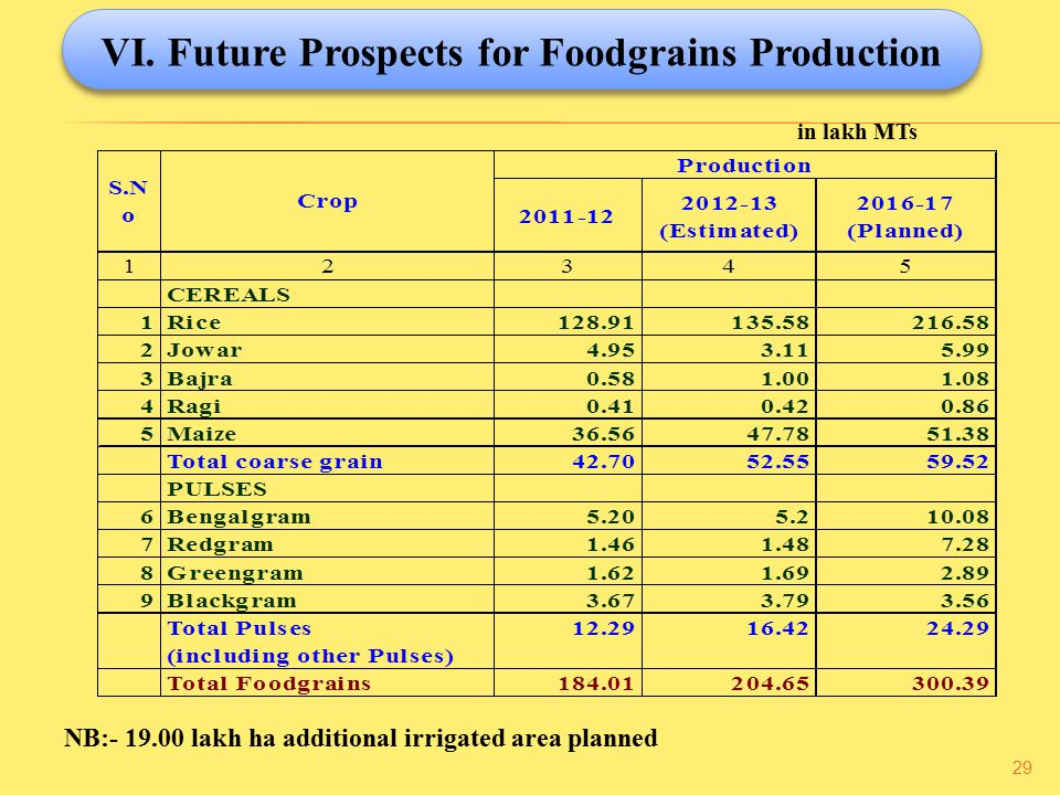 VI. Future Prospects for Foodgrains Production