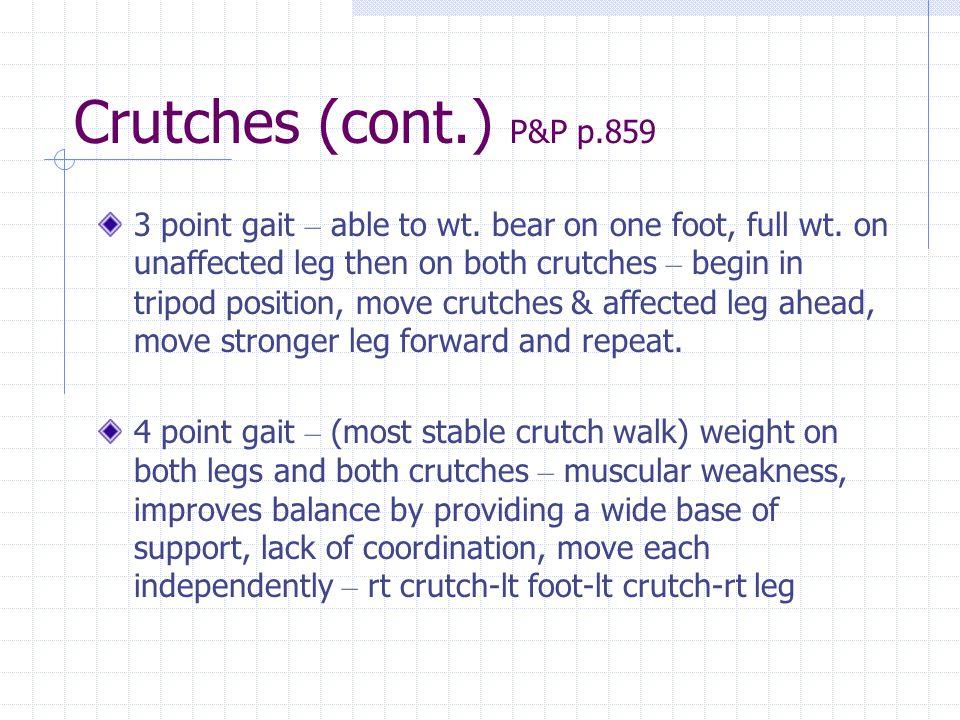 Crutches (cont.) P&P p.859