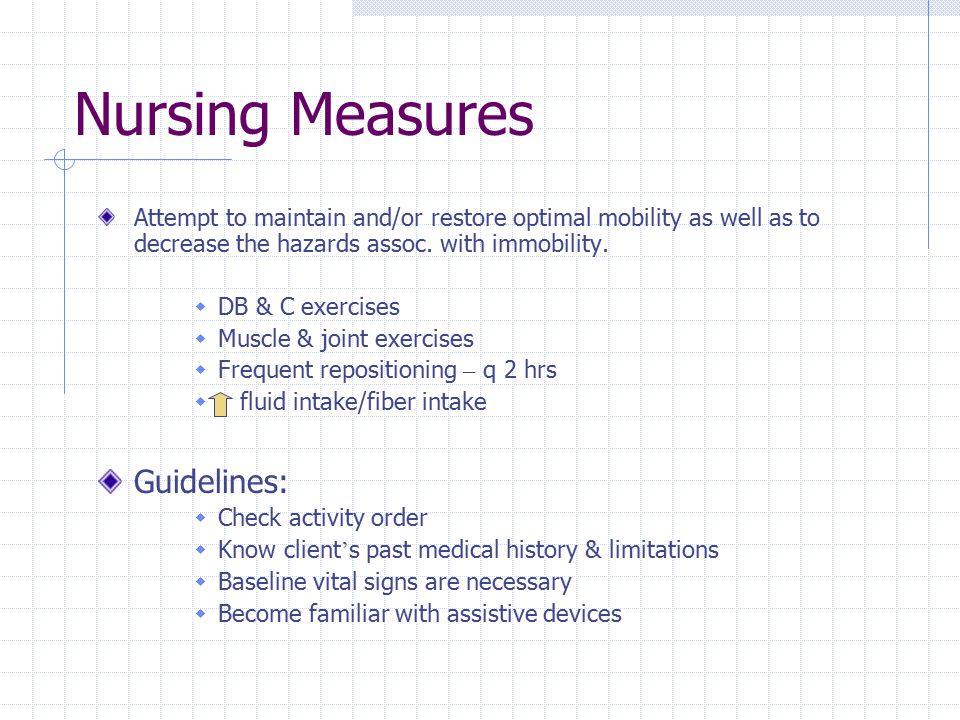Nursing Measures Guidelines: