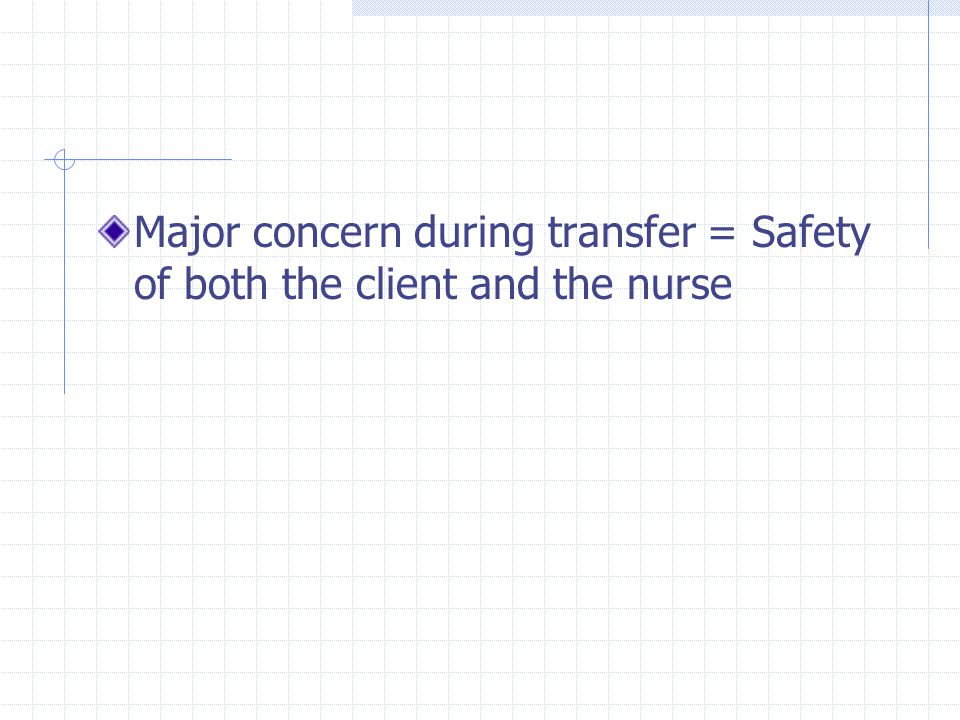 Major concern during transfer = Safety of both the client and the nurse