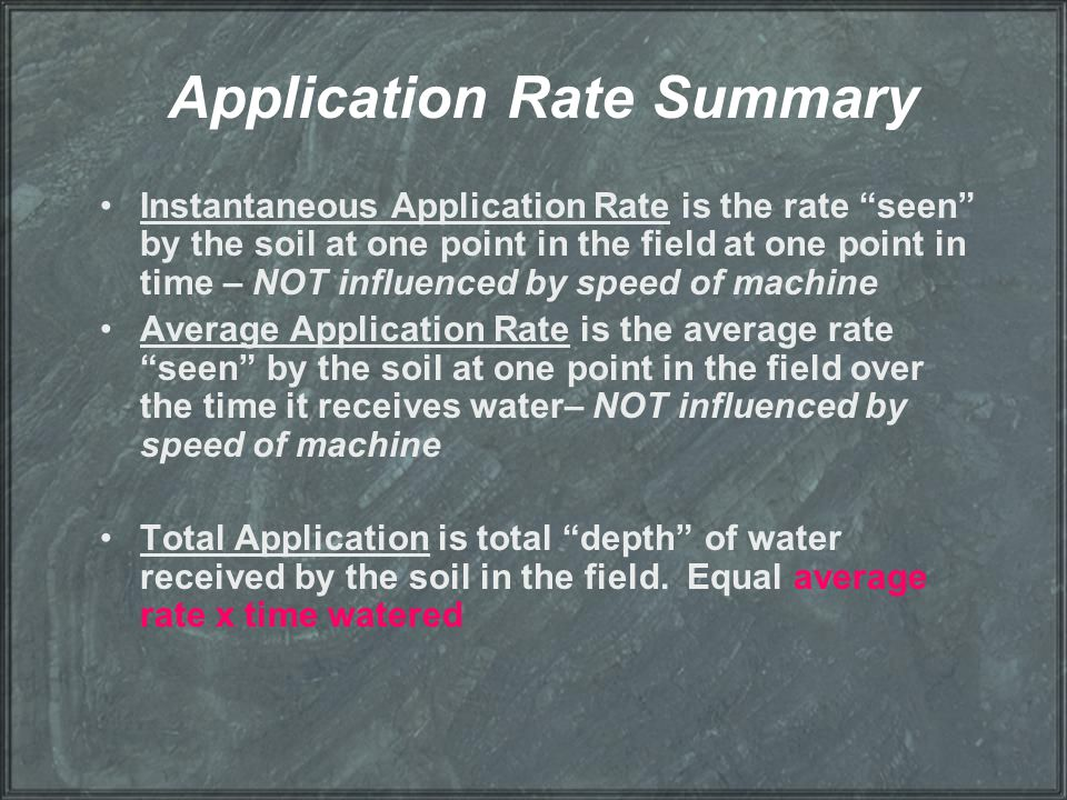 Application Rate Summary
